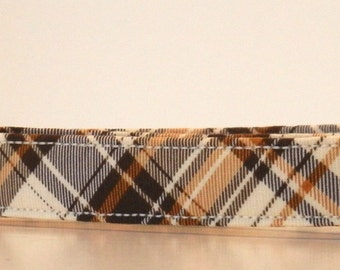 Autumn Fall Winter Plaid Brown Cream Dog Collar Wedding Accessories Made to Order
