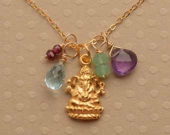 Ganesha Necklace, Yoga Charm Necklace, Healing Gemstone Jewelry, Gemstone Gold Chain Necklace, Elephant Charm Necklace