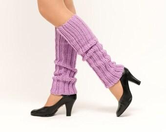 SALE--Light Purple Crocheted Leg Warmers, Handmade Knit Ankle Warmers, Dance Wear, Ballet, Jazz, Women's Warm Winter Accessory, 80's Style
