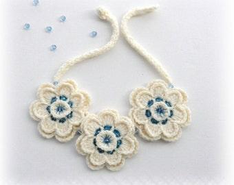 Crochet Necklace - Sweater Necklace - Ivory Necklace - Flowers Necklace - Beaded Necklace - Chunky Necklace - Choker - Bracelet - Hairband