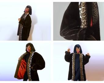 Faux Fur Coat/ Donnybrook Coat/ Womens Winter Coat/ Brown Fur Coat/ Leopard Print Coat/ Fake Fur Coat/ Faux Fur Jacket/ Brown Coat/ Vegan