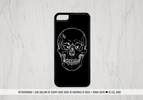 Skull iPhone Case Skull iPhone 5S Case Goth iPhone 6 Case Black iPhone 5 Case Skeleton iPhone 6 Plus Case : SIlicone or Hard Case