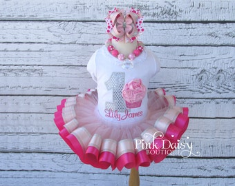 Girls Birthday Outfit - Pink and Silver Tutu Set - Cupcake Appliqué Shirt and Ribbon Trim Tutu Birthday Outfit - First Birthday Dress