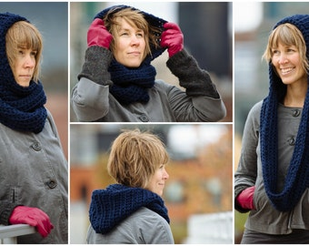 Infinity scarf hood, chunky wool, winter accessorie - Pick your color!