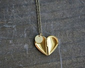 Personalized Half Heart Locket Necklace / Brass 1/2 Heart Locket with Custom Initial Disc ... choose your chain length and initial