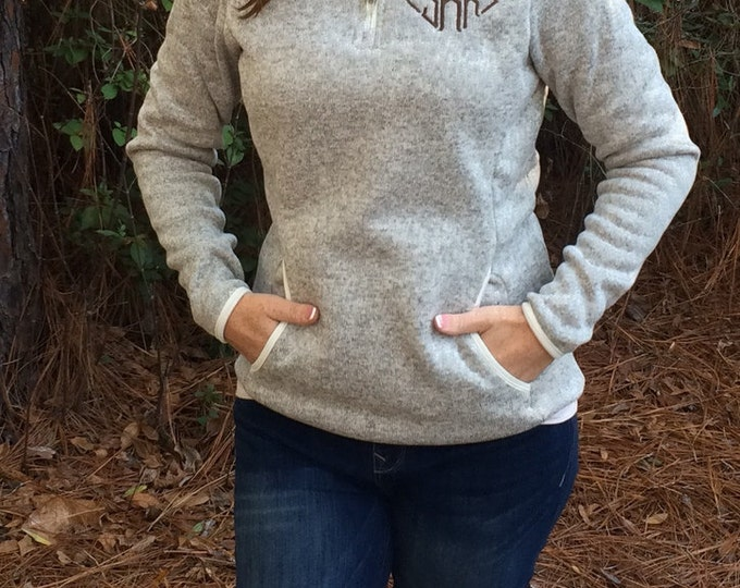 Monogrammed Heathered Fleece Pullover Sweater, Monogram Quarter Zip Pullover, Monogrammed gifts, Valentines gifts