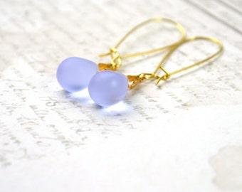 Lilac Earrings, Tear Drop Earrings, Glass Bead Earrings, Lavender Earrings, Light Purple Earrings, Gold & Purple Earrings, Drop Earrings UK
