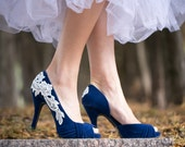 Wedding Shoes - Blue Bridal Heels, Blue Wedding Heels, Blue Heels, Bridal Shoes, Something Blue, High Heels with Ivory Lace. US Size 7.5