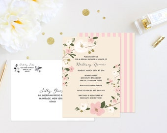 Vintage Retro Flower Floral Pink Peach White Cream Striped Painted Trendy Calligraphy Unique Modern Elegant Bridal Shower Invitation