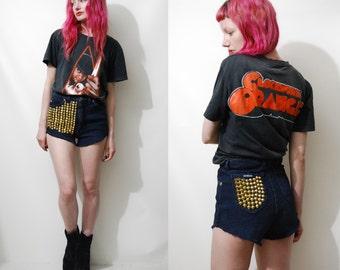 90s Vintage DENIM Shorts STUDDED Jeans RIBBED Cord Stretchy Black Grunge Rocker Gold Stud Hot Pants Goth Highwaisted Cut-offs 1990s vtg xs s