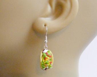 Food Jewelry Taco Earrings, Taco Jewelry, Taco Charm, Mexican Food Jewelry, Miniature Food Jewellery, Kawaii Jewelry, Mini Food Jewelry