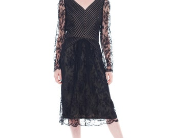 1980s Vintage Black and Silver Bill Blass Lace Dress  Size: S/M
