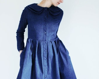 Denim Dress - Indigo Dress - Double Collar Dress - Full Gathered Skirt Dress - Handmade by OffOn
