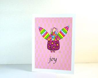 "Greeting Card ""Joy"" / Wedding Bridal Engagement Anniversary / Birthday Baby Shower Girl Angel Wings Christmas Card / Print at Home Artwork"