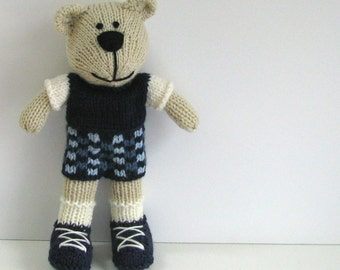 Baby Boy Gift - Hand Knit Bear - Stuff Bear - Stuffed Animal - Teddy Bear - Kids Toy - Plush Bear - Knit Toy - Small Toy - Child Toy Nathan