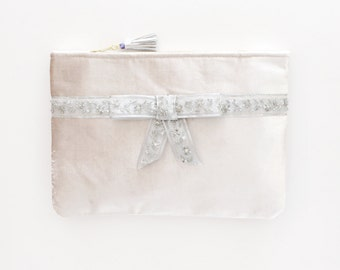 30% off FLAIR 3 / Silver velvet clutch bag with embroidered pearl bow - Ready to Ship