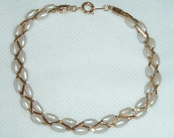 Pearls Wrapped Faux Pearl Gold Tone Bracelet
