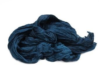 silk scarf - Arctic Sky -  teal, blue silk scarf.