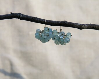 Gorgeous clusters of faceted aquamarine beads dangle delicately on 14kt gold filled earrings