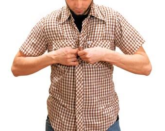 80s Western Shirt, Brown & White Checked Shirt, Western Plaid Snap Shirt, Short Sleeve Plaid Shirt, Men's Vintage Shirt S M