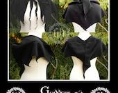 Polar fleece hooded pixie capelet, shawl, elven, faerie, goth, festival