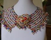 25%OFF SALE, Red Bird Contemporary Collar, Colorful Beaded Embroidery and Bead Woven with a Variety of Lamp Work and Colorful Sparkle Beads,