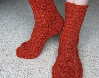Cables with Texture Knit Socks Pattern - KELLEBECK SOCKS Knitting Pattern PDF - Digital Download