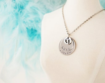 Doula Gift Necklace - Hand Stamped Disk - Custom with Name - Little Feet Charm - Birthing Gift Jewelry - Nurse Gift