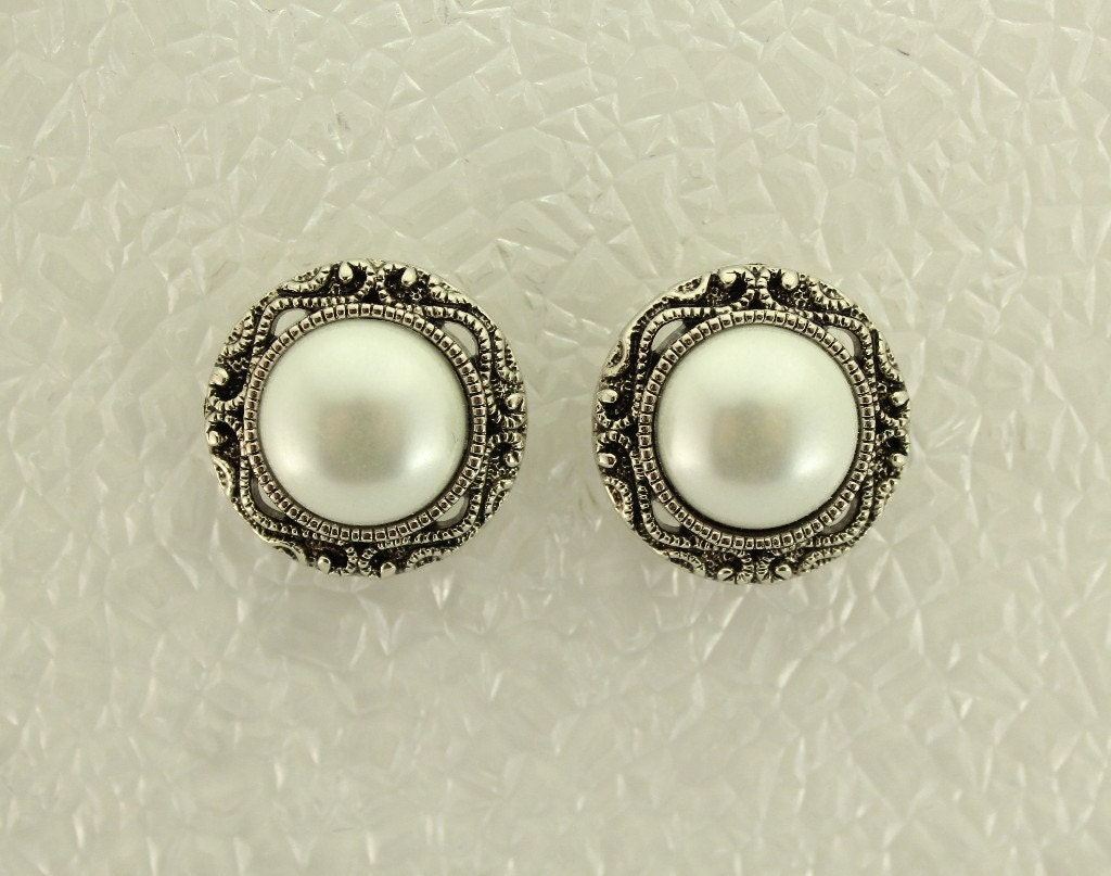 magnetic pearl earrings 22 mm magnetic antique style pearl button earrings 9935