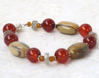 Poppy Jasper, Carnelian & Labradorite Bracelet