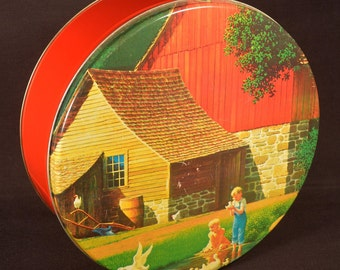 Country Decor Container Barn LARGE Bin Box Cookie Tin Farm Midwest