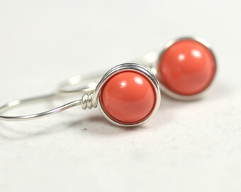 Coral Earrings Wire Wrapped Jewelry Handmade Sterling Silver Jewelry Handmade Orange Coral Earrings Orange Earrings Swarovski Pearl Earrings