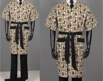 Vintage 1950s Mens Robe -- Manhattan Cotton Shave Coat -- Barbers Smock -- Bagpipers Pattern Size L/XL