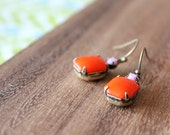 vintage glass earrings - tangerine and light pink