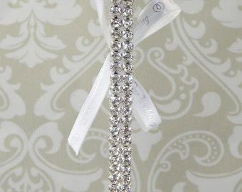 DUAL Row CRYSTAL Rhinestone Wedding Garter, Bridal Garter with White Satin Ribbon