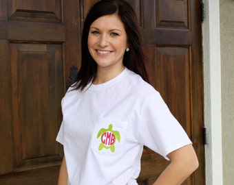 MONOGRAMMED Short Sleeve Pocket Turtle Tees-Available in sizes Small-2XLarge
