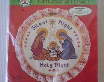 Colortex Cross Stitch Kit Unopened, Vintage Christmas Silent Night Holy Night 1986 Cross Stitch