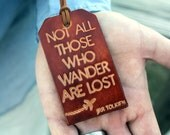 Not All Those Who Wander Are Lost Luggage Tag, Handcrafted Genuine Leather Luggage Tag Travel Gift
