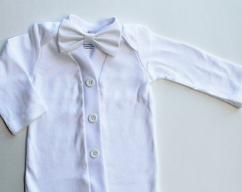 Baby Blessing Outfit, White Christening Outfit, Baby Boy Blessing/Christening Outfit, Baby Boy Baptism Outfit, White Bodysuit and Bow Tie