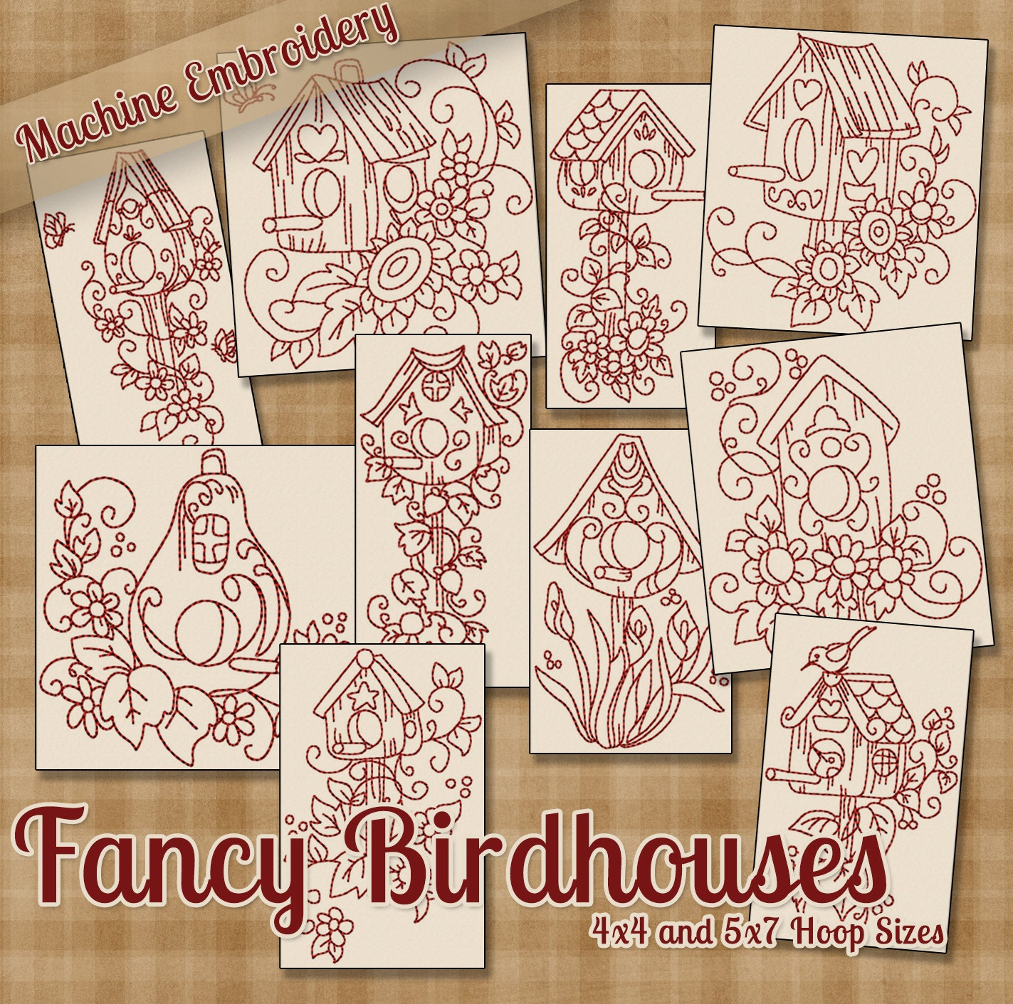 Redwork fancy birdhouses machine embroidery patterns designs