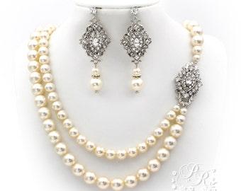 Wedding Necklace Double Strands Swarovski Pearl Swarovski Rhinestone Bridal Necklace Bridal Earrings wedding earrings jewelry rhombus
