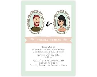 Custom Illustrated Wedding Invitation // Custom Illustration Wedding Invitation Featuring Cartoon Portrait of Couple