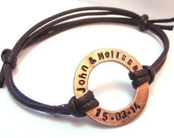 Men Women Copper Bracelet, Personalized Washer, Custom Hand Stamped Initials GPS Coordinates Names Date, Man Boyfriend Groomsmen Father gift