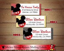 Mickey Mouse Return Address Labels, Minnie Mouse Return Address Lables, Mickey Minnie Clubhouse Address Labels to match Invitations