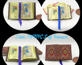 Miniature Book -- Open Book MEDIEVAL Illuminated BOOK Of HOURS Miniature Book Dollhouse 1:12 Scale Readable Illustrated