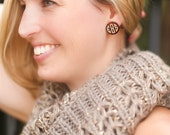 Circle Monogram Earrings - Tortoise Shell with Gold Engraving - with gift box