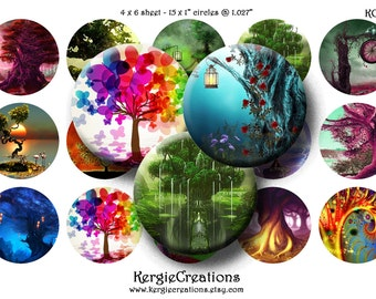 FANTASY TREES  Digital Collage Sheet 1 inch round images for bottle caps, pendants, round bezels, etc. Instant Download #157.