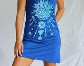 Living Crystals Mandala Dress - bright aqua screen print on the American Apparel Tank Dress. Diatoms. Sacred Geometry. Phytoplankton.