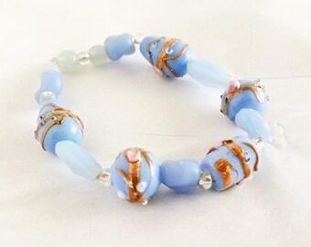 Light Blue & Violet Lampwork Glass Beaded Bracelet