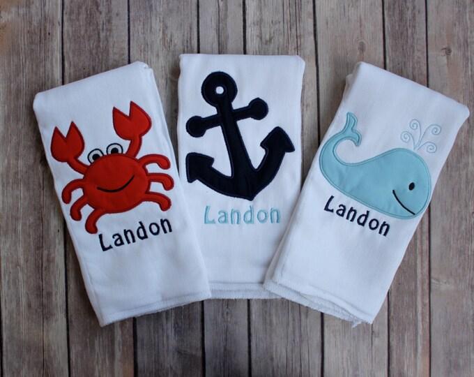 Personalized Boy's Burp Cloth Set - Nautical Burp Cloth Summer Set - Whale, Anchor, Crab Boy's Nautical Burp Cloth Gift Set